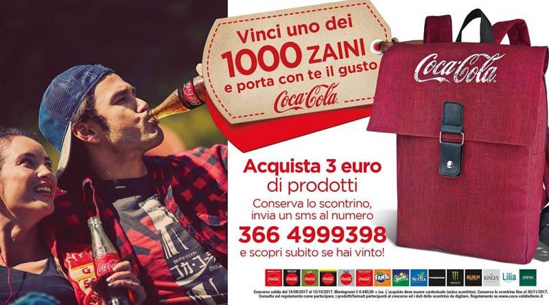 Concorso a premi Coca Cola vinci 1 dei 1000 zaini