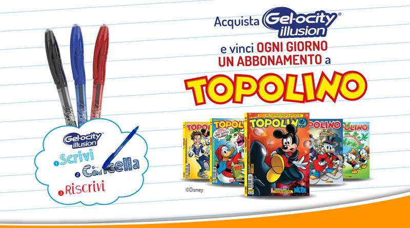Concorso Gelocity Never Ending Pen, vinci abbonamento a Topolino