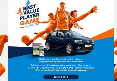 Concorso La Gazzetta dello Sport best value player game, partecipa e vinci Dacia Sandero