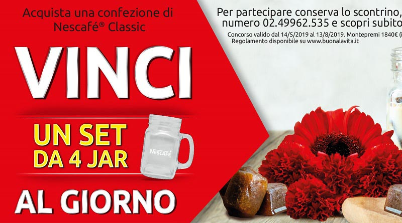 Vinci set di 4 Nescafè Jar al giorno con Buonalavita